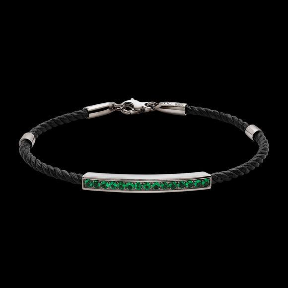 OC Men's 18K Yellow or White Gold Bracelet with Emeralds