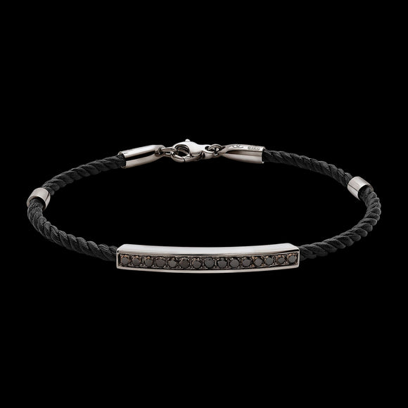 OC Men's 18K White Gold Bracelet with Black Diamonds