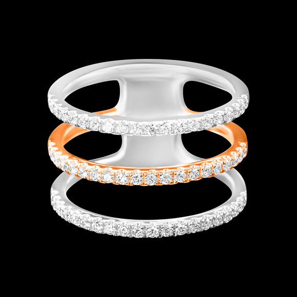 OC Slav 18K 2 Color Gold Ring with Triple White Diamond Rows