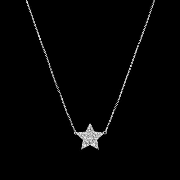OC Symbols 18K White Gold Star Necklace with White Diamonds