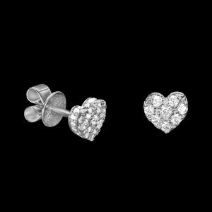 OC Romance 18K White Gold Mini Diamond Heart Stud Earrings