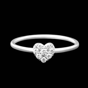 OC Romance 18K Gold Ring with Mini Diamond Heart