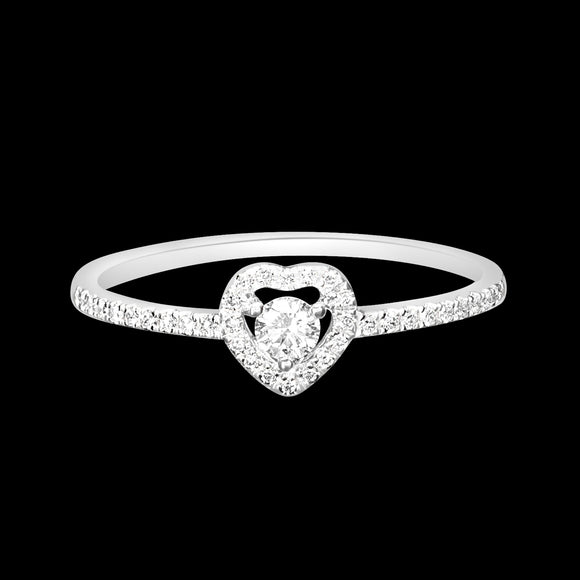 OC Romance 18K White Gold Ring with Mini White Diamond Heart and Center Round White Diamonds