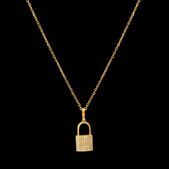 OC Symbols 18K Yellow Gold Lock Pendant with White Diamonds