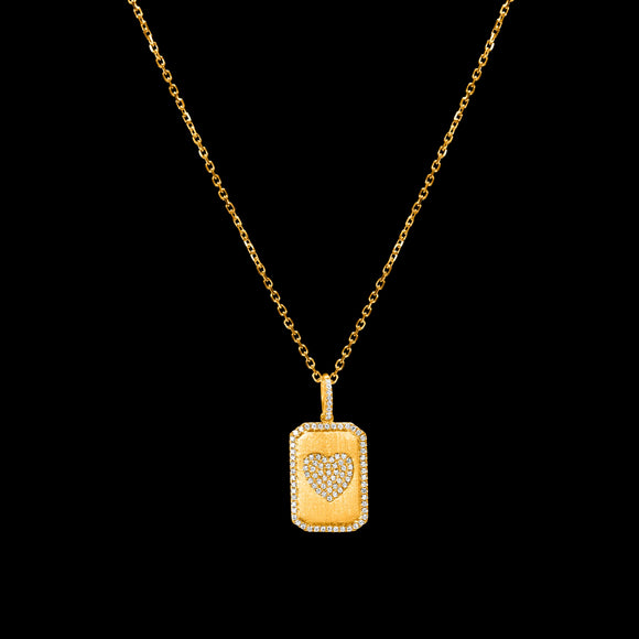 OC Symbols 18K Yellow Gold Pendant Heart Plaque in White Diamonds