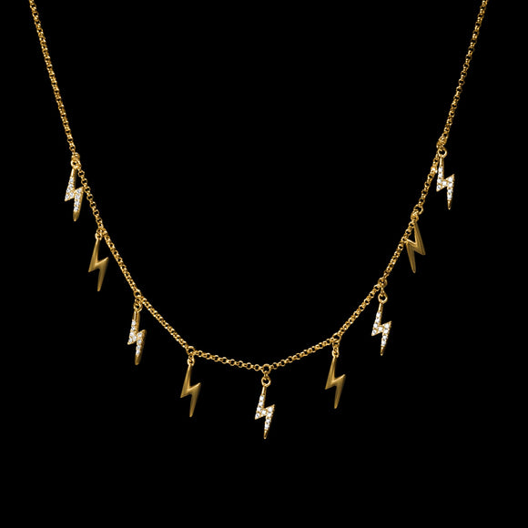 OC Symbols 18K Yellow Gold Necklace with 9 Thunderbolts with White Diamonds