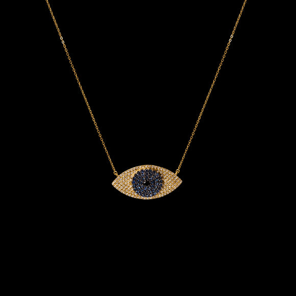 OC Symbols 18K Yellow Gold Necklace with Sapphire Eye