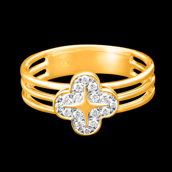 OC Wonders 18K Yellow Gold Ring with Single Wonder Flower in 3 Lines