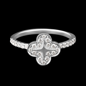 OC Wonders 18K White Gold Ring with Single Wonder Flower with White Diamonds