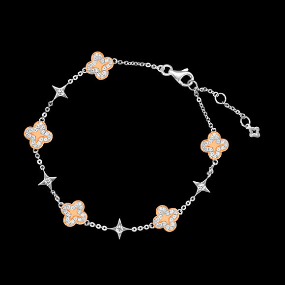 OC Wonders 18K White Gold Bracelet with 5 Wonder Flowers