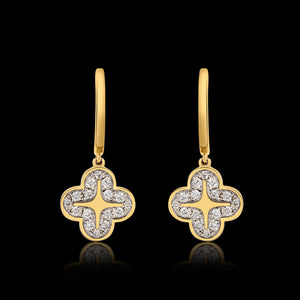 OC Wonders 18K Yellow Gold Earring with Tangling Wonders Flower