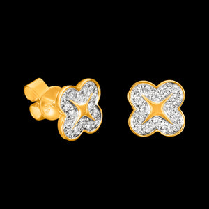 OC Wonders 18K Gold Wonder Flower Stud Earrings with White Diamonds