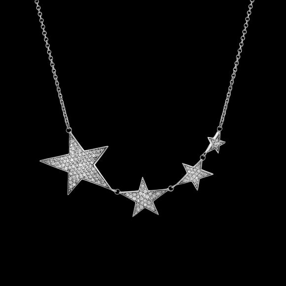 OC Symbols 18K White Gold Necklace with 4 White Diamond Stars