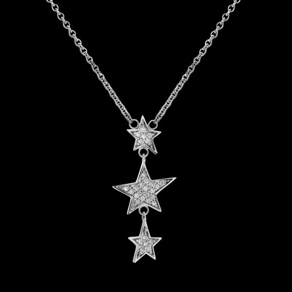 OC Symbols 18K White Gold Necklace with 3 Diamond Stars