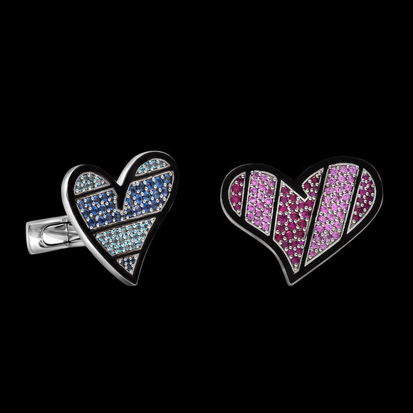 Romero Britto Collaboration Precious Hearts Cufflinks