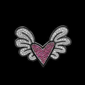 Romero Britto Collaboration Winged Heart Pin in 18K White Gold with Rubies and Diamonds