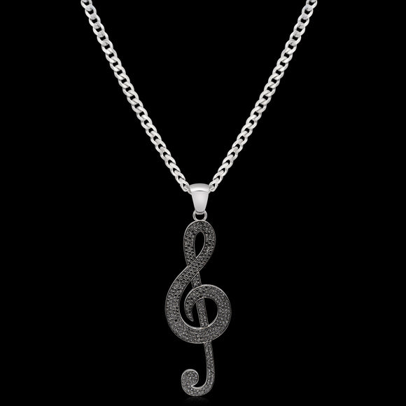 OC Limited 18K White Gold Music Note Pendant with Black Diamonds