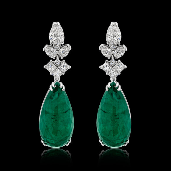 OC Limited 18K White Gold Earrings with Emerald and Diamonds