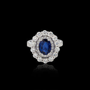 OC Tales 18K White Gold Ring with Sapphire and White Diamonds