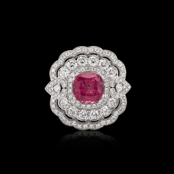 OC Tales 18K White Gold Ring with Pink Turmaline and White Diamonds