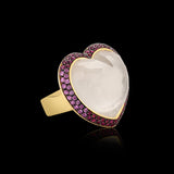 OC Romance 18K Yellow Gold Ring with White Quartz, Pink Sapphires and Rubies