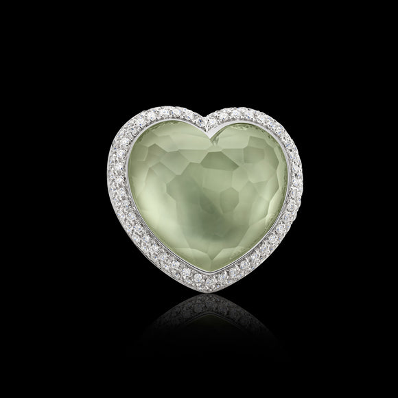 OC Romance 18K White Gold Ring with Green Amethyst and White Diamonds