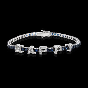OC Forever 18K White Gold Personalized Tennis Bracelet In Sapphires with HAPPY In Diamonds