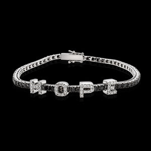 OC Forever 18K White Gold Personalized Tennis Bracelet In Black Diamonds with HOPE In White Diamonds