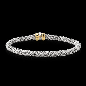 OC Men's Silver Bracelet with 18K Yellow Gold Clasp