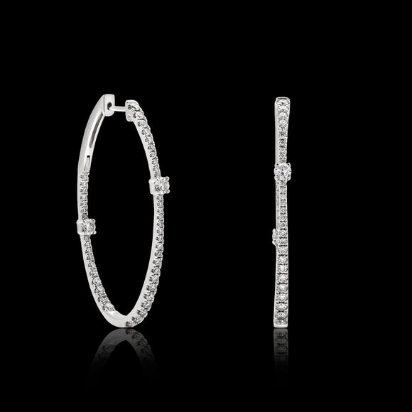OC Slav 18K White Gold Oval Hoops with Diamonds