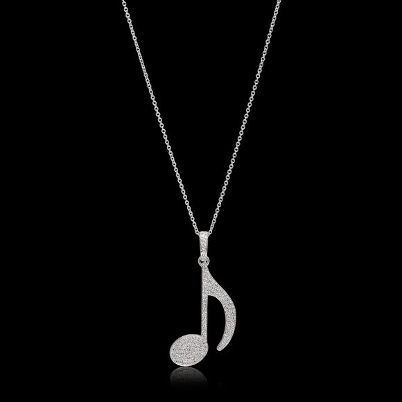 OC Symbols 925 Sterling Silver Musical Note Pendant with White Topaz