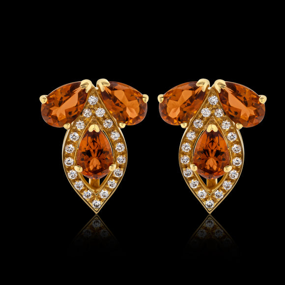 OC Vintage 18K Yellow Gold Earrings with Citrine and Diamonds