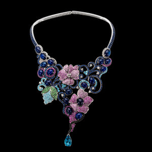 OC Limited 18K White Gold Multicolor Flower Necklace with Sapphires and Topaz