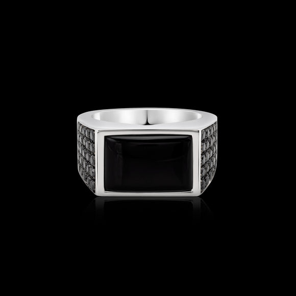 OC Men's Black Onyx Silver Ring with Black Diamonds