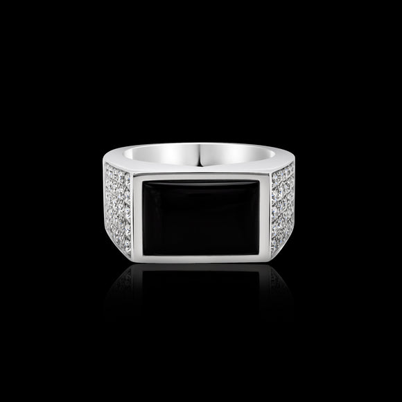 OC Men's Black Onyx Silver Ring with White Diamonds