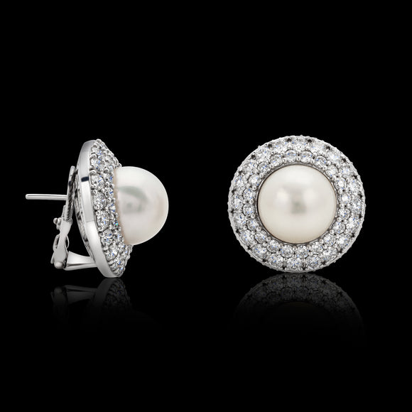 OC Pearls 18K White Gold Earrings with White Pearl and White Diamonds