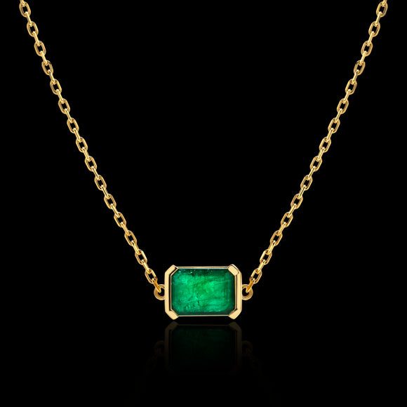OC Limited 18K Yellow Gold Necklace with Emerald and Diamond