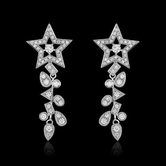 OC Symbols 18K White  Gold Earrings with  Stars In  Diamonds (Pre-order)