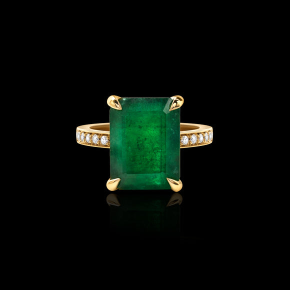 OC Limited 18K Yellow Gold Ring with Emerald  and Diamonds