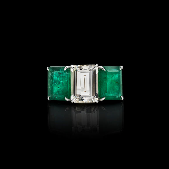 OC Limited 18K White  Gold Ring with Emerald  and Topaz (Pre-order)