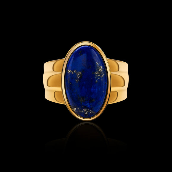 OC Men's  Lapis Lazuli  Silver Gold plated Oval Ring
