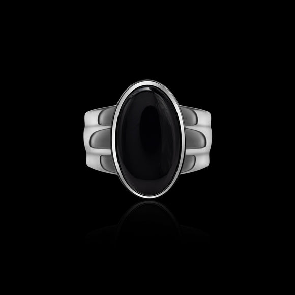 OC Men's  Black Onyx  Silver  Oval Ring