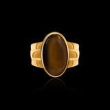 OC Men's  Tiger Eye Silver Gold plated Oval Ring