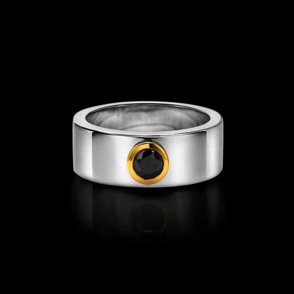 OC Men's Silver  Ring with Black Diamond