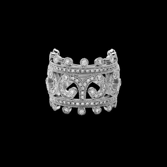 OC Tales 18K White Gold Arabesque Ring with White Diamonds