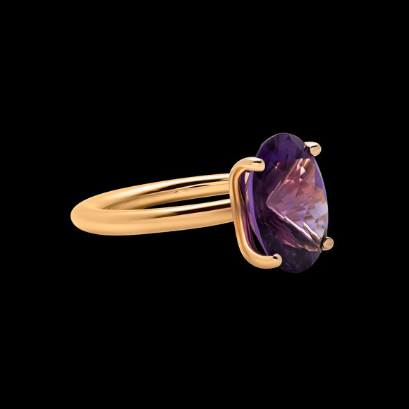 OC Vintage 18K Yellow Gold Ring with Amethyst