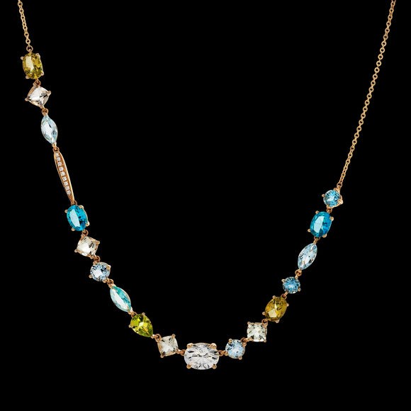 OC VINTAGE 18K YELLOW GOLD NECKLACE WITH MULTICOLOR GEMSTONES, DIAMONDS AND MOISSANITE
