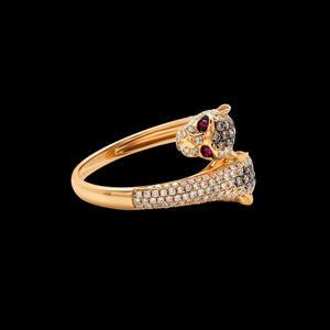 OC Slav 18K Yellow Gold Panther Ring with Diamonds and Rubies
