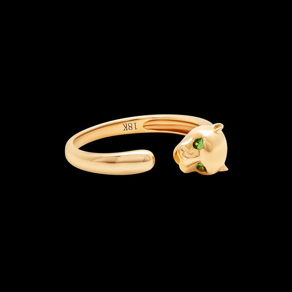 OC Slav 18K Yellow Gold Panther Ring with Emeralds