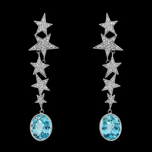 OC Symbols 18K White Gold Star Earrings with White Diamonds and Aquamarine